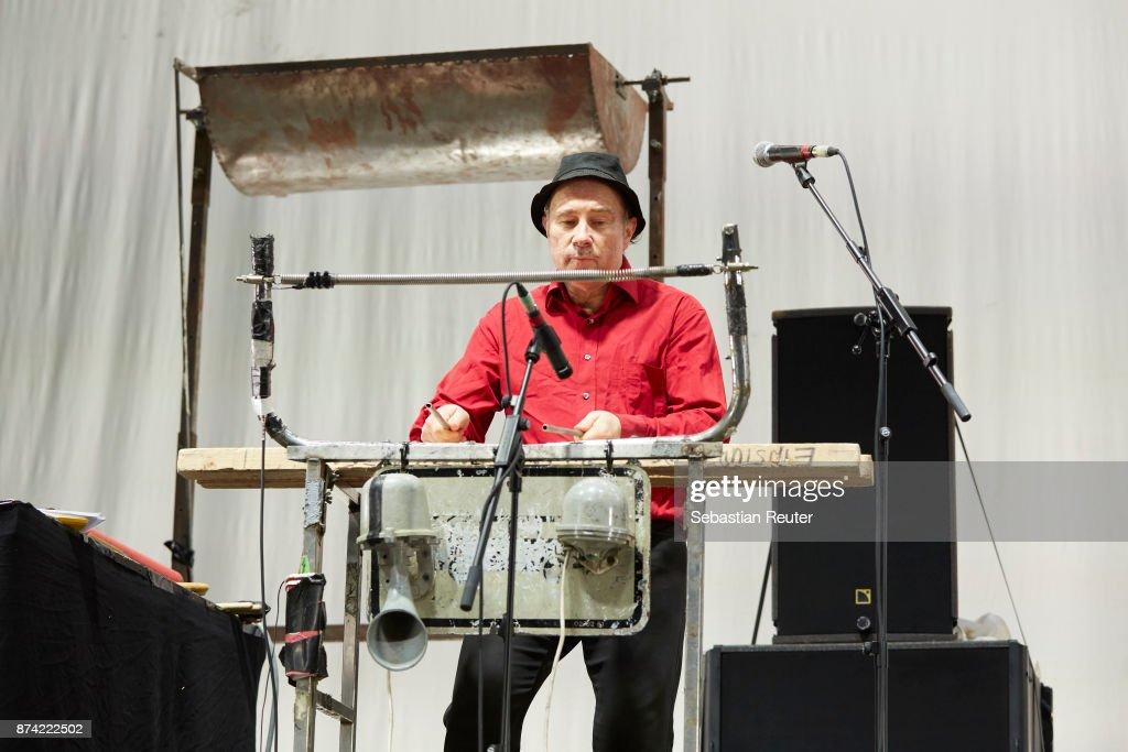 N. U. Unruh of Einstuerzende Neubauten performs at Columbiahalle on November 14, 2017 in Berlin, Germany.
