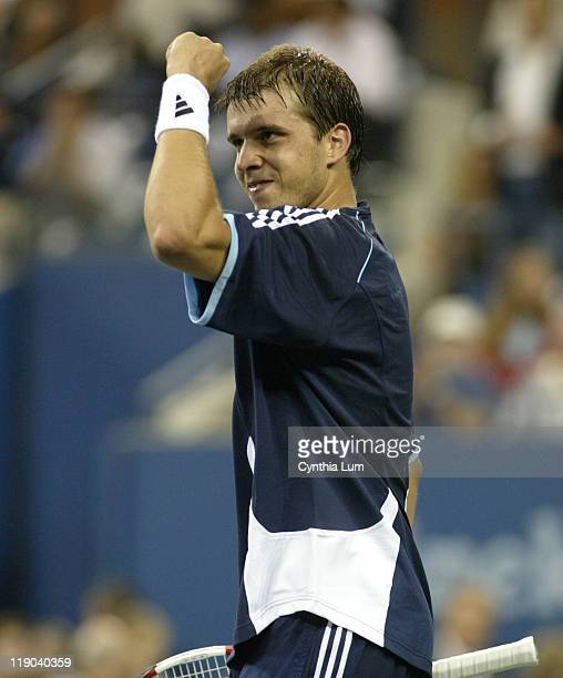Unseeded Gilles Muller upsets 4th seed Andy Roddick 76 76 76 in the first round of the 2005 US Open at the National Tennis Center in Flushing New...
