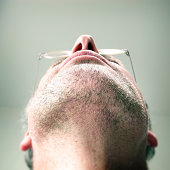 Unshaven chin of man
