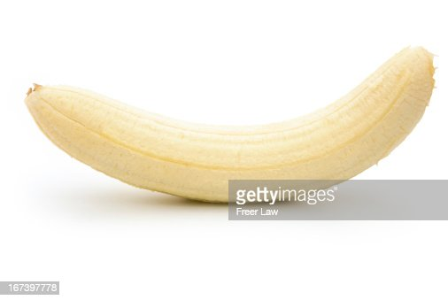 unskin banana isolated on white with clipping path : Stock Photo