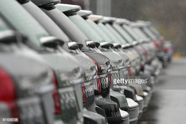 Unsold Cars For Sale in Winter Falling Snow