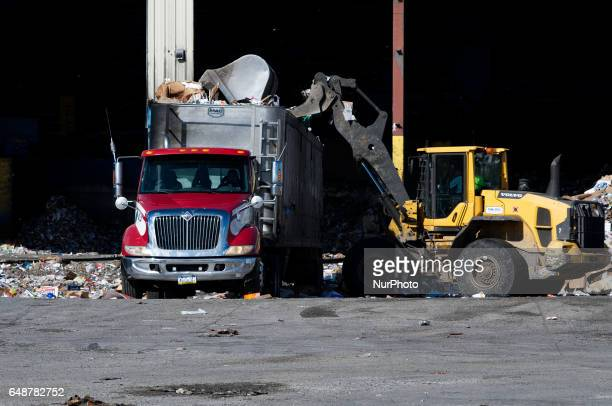 Unsorted materials are collected at the yard of the Materials Recovery Facility in South Philadelphia PA on February 13th 2017 Recyclables collected...