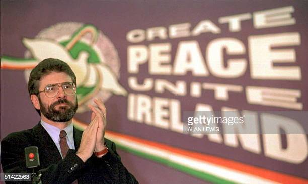 Sinn Fein leader Gerry Adams acknowledges a standing ovation from delegates following his address at the Sinn Fein party conference in Dublin 25...
