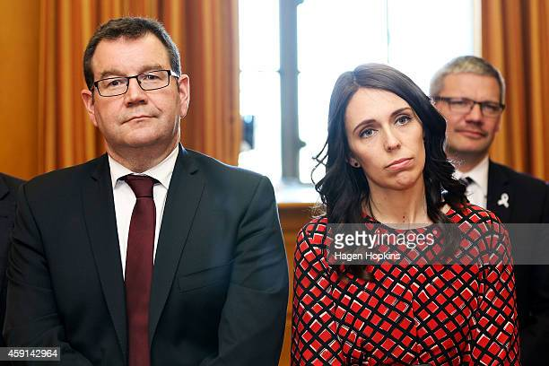 Unsuccessful Labour leader candidate Grant Robertson and MP Jacinda Ardern look on during a press conference at Parliament House on November 18 2014...