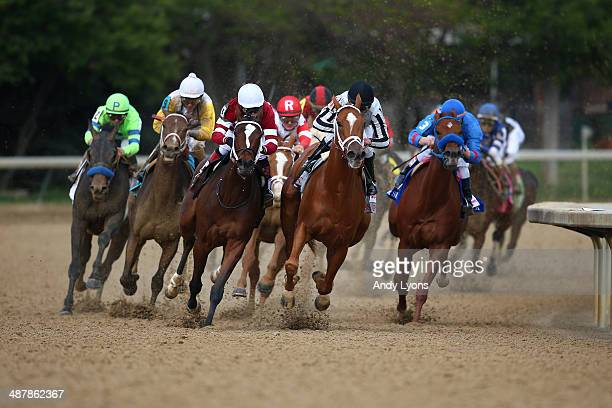 Untapable ridden by Rosie Napravnik and My Miss Sophia ridden by Javier Castellano lead the field during the 140th running of the Kentucky Oaks at...
