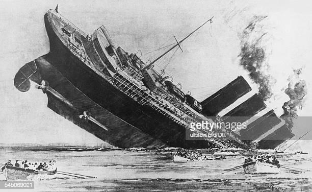 Untergang der 'Lusitania' nach der Torpedierung durch U20 vor der irischen Küste am Zeichnung von Norman Wilkinson