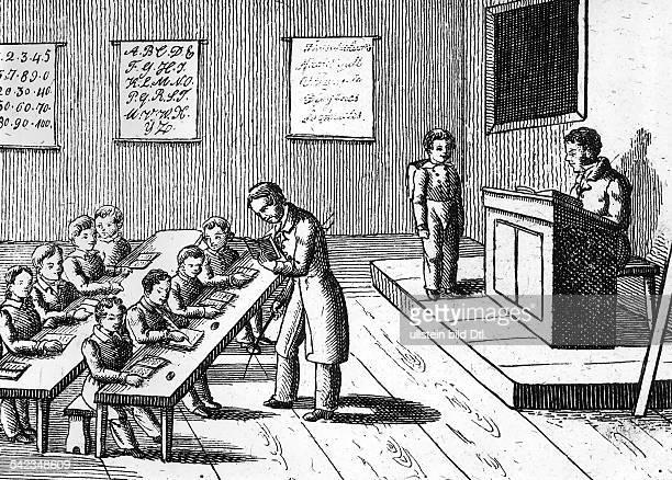 Unterricht in einer Volksschule um 1830Kupferstich aus 'Orbis Pictus' 1833
