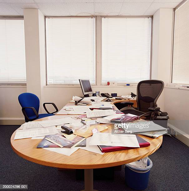 Untidy office desk