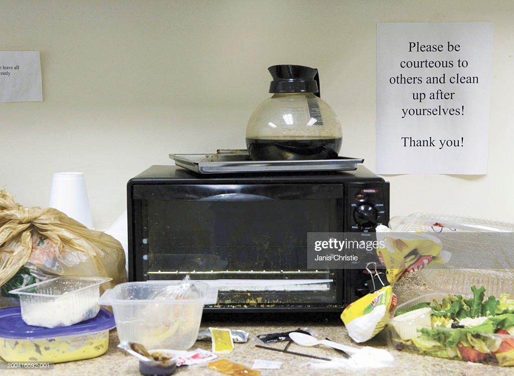 Untidy office kitchen area : Stock Photo