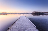 Frosty morning on the lake at Colwick country park, Nottinghamshire