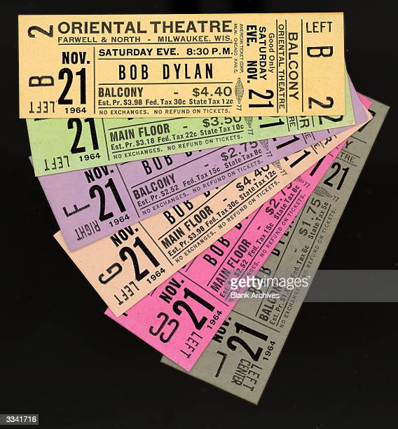Unused tickets from a Bob Dylan concert at the Oriental Theater Milwaukee November 21 1964