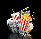 Popcorn, cinema reel, disposable cup, clapper board and tickets at black background. Concept cinema theater 3D illustration.