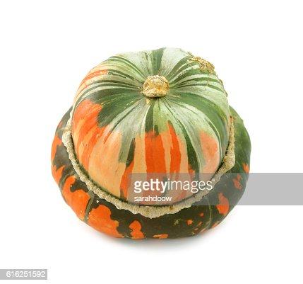 Unusual orange and green striped turban squash : Foto de stock