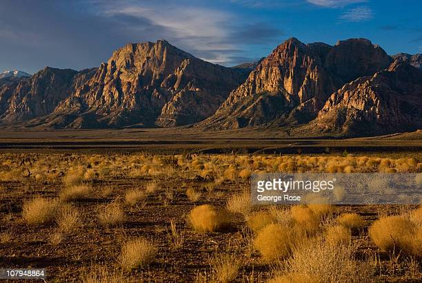 Unusual rock formations dot the Red Rock Canyon National Conservation Area desert landscape on December 26 2010 near Summerlin Nevada Red Rock Canyon...
