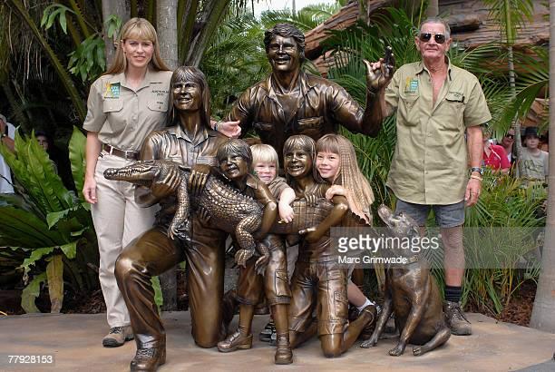 Unveiling the memorial family statue Terri Irwin Robert Irwin Bindi Irwin and Steve's father Bob Irwin attend 'Steve Irwin Memorial Day' at Australia...
