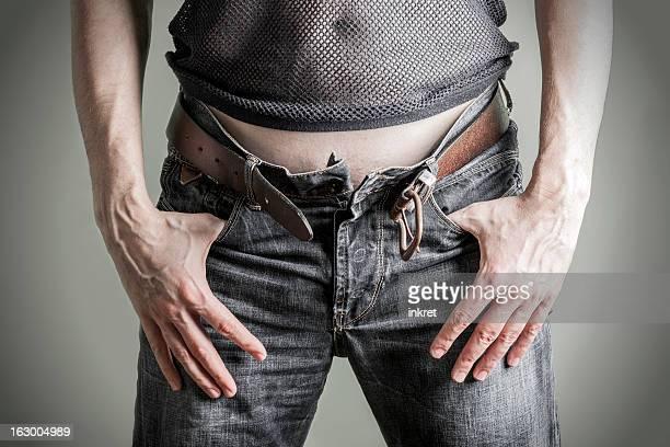 Fermeture éclair ouverte jeans