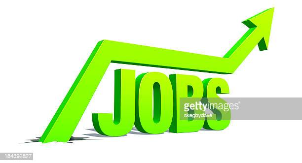 Up Arrow with word: Jobs