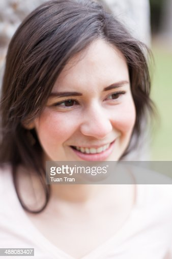 Up close portrait of woman smiling
