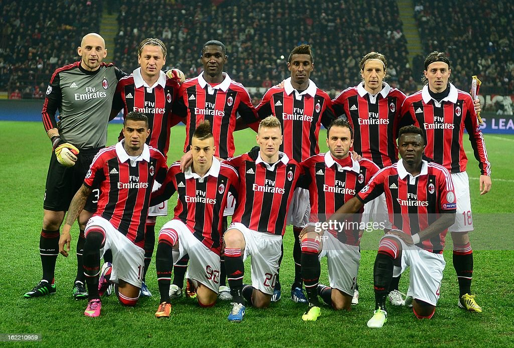 Up From L to R) AC Milan's goalkeeper Christian Abbiati , french defender Philippe Mexes, Colombian defender Cristian Zapata, Colombian midfielder Kevin Constant, midfielder and captain Massimo Ambrosini, midfielder Riccardo Montolivo. Ghanaian defender Prince Kevin Boateng, forward Stephan El Shaarawy, defender Ignazio Abate, forward Giampaolo Pazzini, midfielder of Ghana Sulley Ali Muntari , pose before their Champions League match between AC Milan and FC Barcelona on February 20, 2013 at the San Siro Stadium, in Milan.