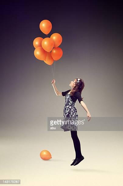 アップにオレンジの風船