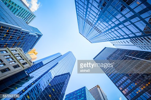 Up view in financial district : Stock Photo
