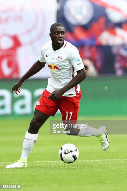 Upamecano of Leipzig in action during the Bundesliga match between RB Leipzig and SC Freiburg at Red Bull Arena on April 15 2017 in Leipzig Germany