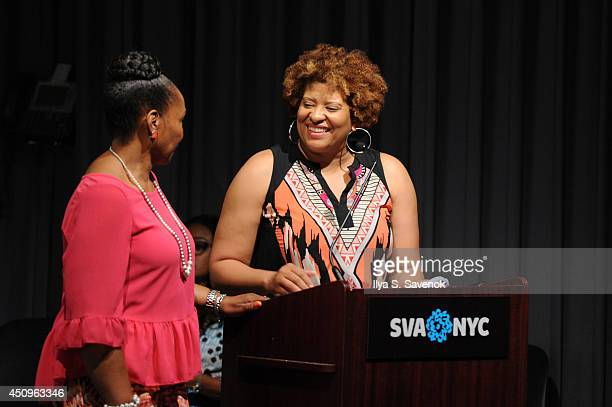 ASPiRE Sr Trade and Affiliate Marketing Tracey Tooks and Deetta West speak onstage at the 2014 ABFF_ UP TV Live Table Read at SVA Theater on June 20...