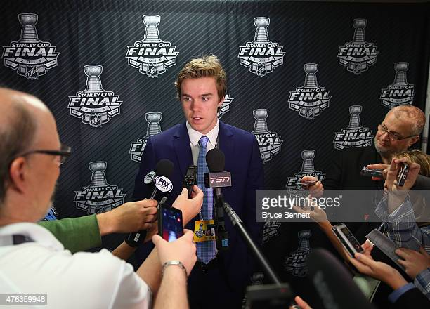 Upcoming NHL draft pick Connor McDavid speaks with the media during media availability at United Center on June 8 2015 in Chicago Illinois