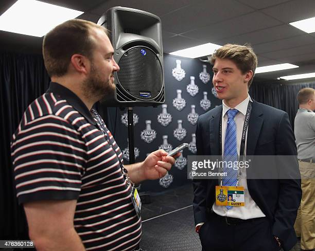 Upcoming NHL draft pick Mitchell Marner speaks with the media during media availability at United Center on June 8 2015 in Chicago Illinois