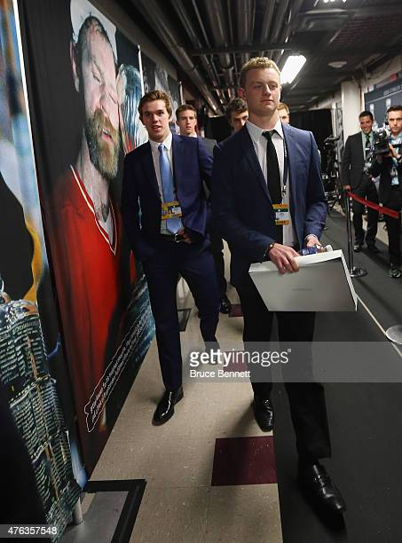 Upcoming NHL draft picks Connor McDavid and Jack Eichel take part in a media availability at United Center on June 8 2015 in Chicago Illinois