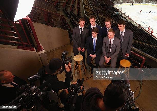 Upcoming NHL draft picks Noah Hanafin Jack Eichel Connor McBride and Dylan Strome and Mitchell Marner and Lawson Crouse pose for a photo opportunity...