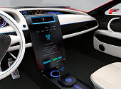 Update vehicle software just touch car's center console screen. Concept for new software solution for automobile. Original design. 3DCG rendering image.