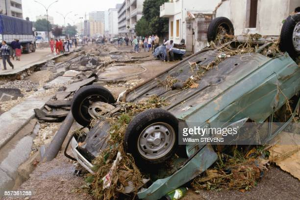 Upended cars after terrible floods on October 3 1988 in Nimes France