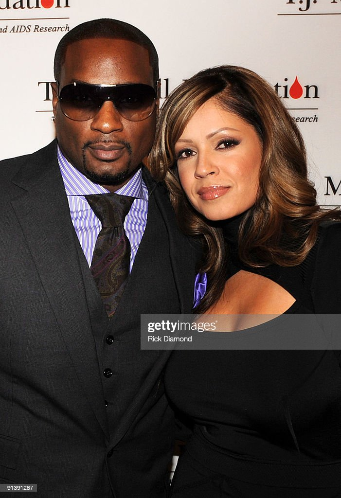 CEO Upfront Devyne Stephens and Recording Artist Perri 'Pebbles' Reid attend the TJ Martell Foundation's Best Cellars Dinner at the RitzCarlton...