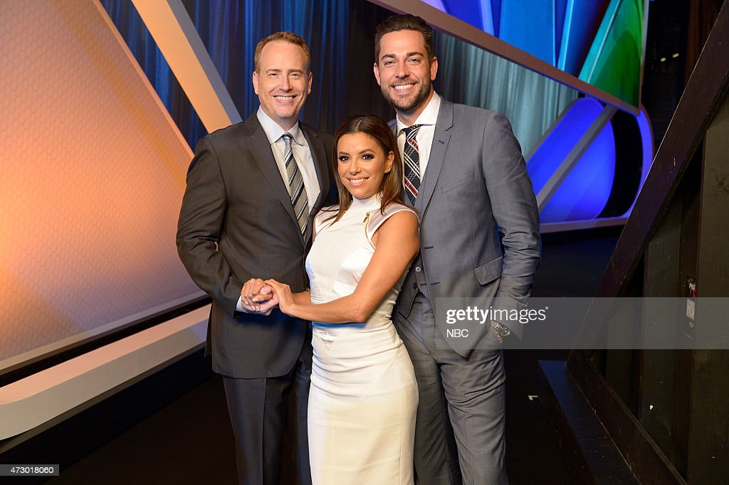 Upfront Presentation -- Presentation to Advertisers, Backstage -- Pictured: (l-r) Robert Greenblatt, Chairman, NBC Entertainment, Eva Longoria 'Hot & Bothered', Zachary Levi 'Heroes Reborn' --