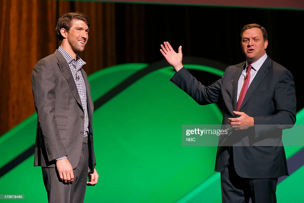 Upfront Presentation -- Presentation to Advertisers -- Pictured: (l-r) <a gi-track='captionPersonalityLinkClicked' href=/galleries/search?phrase=Michael+Phelps&family=editorial&specificpeople=162698 ng-click='$event.stopPropagation()'>Michael Phelps</a>, Mark Lazarus, Chairman, NBC Sports Group --