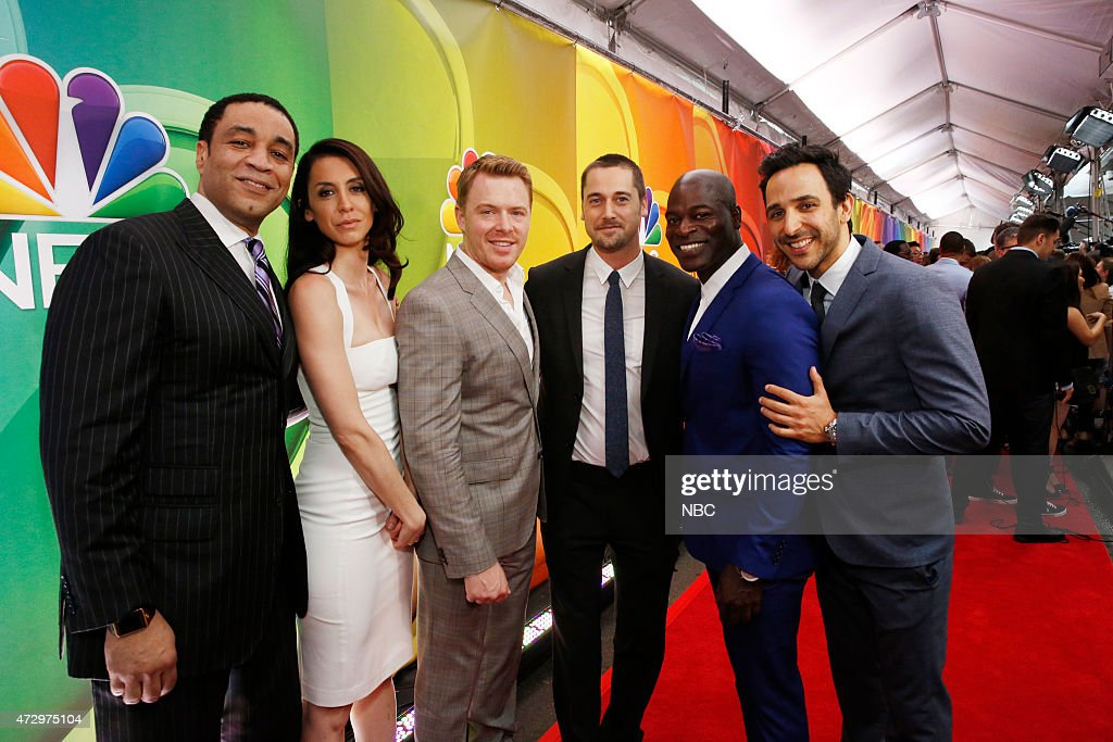 Upfront Presentation -- Red Carpet Arrivals -- Pictured: (l-r) Harry Lennix, Mozhan Marno, Diego Klattenhoff, Ryan Eggold, Hisham Tawfiq, Amir Arison 'The Blacklist' --
