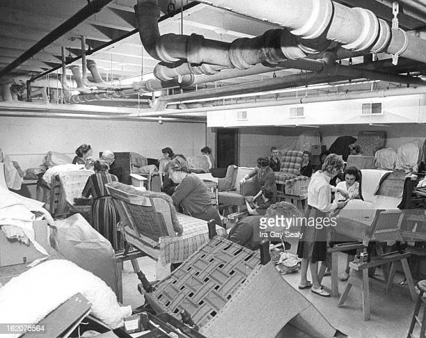 JAN 3 1965 JAN 13 1965 Upholstery classroom in Manual High School shows pupils in various stages of production on their repholstery projects The...