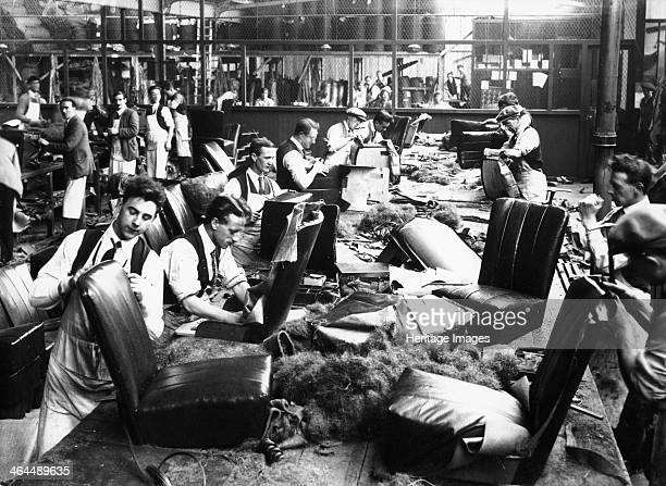 Upholstery department Morris factory mid 1920s Workers are busy producing car seats