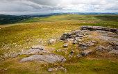 Upland granite landscape near Haytor Dartmoor national park Devon England