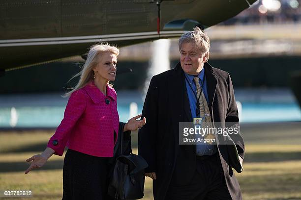 Upon President Donald Trump's return from Philadelphia White House counselor Kellyanne Conway and President Trump's chief strategist Steve Bannon...