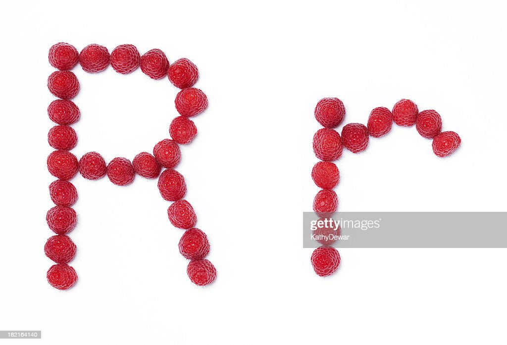 Upper and Lower Case Letter R made with Raspberry