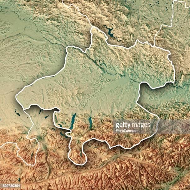 Bundesland Oberösterreich 3D-Render topographische Karte