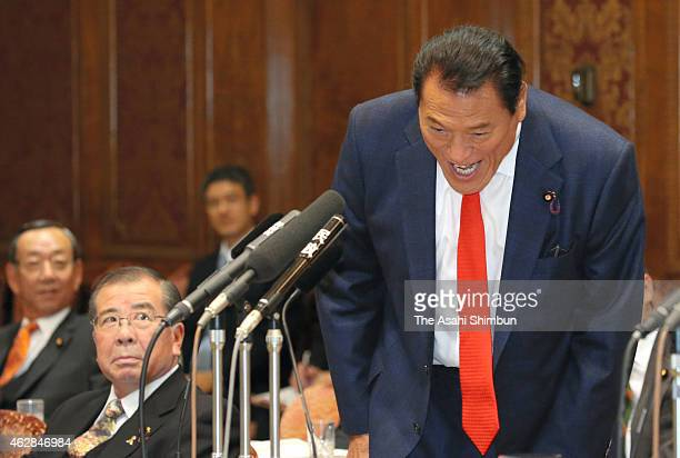 Upper House lawmaker Kanji Inoki or Antonio Inoki shouts before his remark during an audit committee of upper house at the diet building on February...