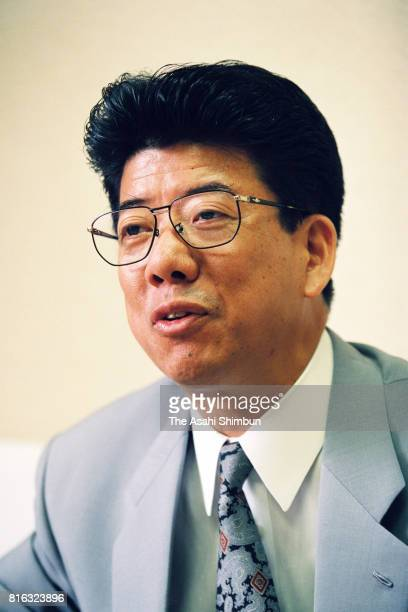 Upper House lawmaker Kiyoshi Nishikawa speaks during the Asahi Shimbun interview on May 17 1994 in Tokyo Japan