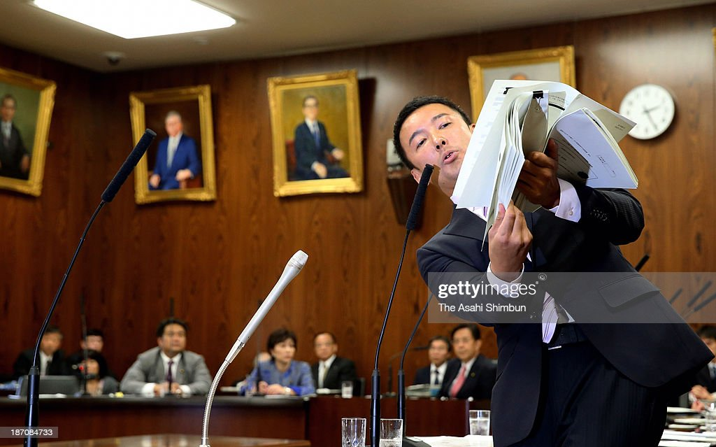 Upper House lawmaker Taro Yamamoto speaks during a cabinet committee at the Diet Building on November 5, 2013 in Tokyo, Japan. Yamamoto, criticized over handing a letter to Emperor Akihito during an Imperial Garden Party and many lawmakers have called for his resignation, told during the news conference that he would not quit.