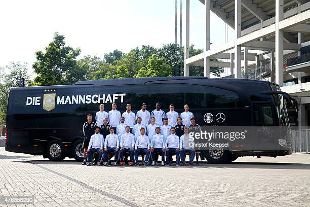 Upper row LR with Andre Schuerrle Christoph Kramer Shokdran Mustafi Sami Khedira Antonio Ruediger Jonas Hector Max Kruse the middle row LR with...