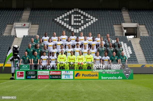 Upper row starts with Mascot Juenter Dr Heribert Ditzel Denis Zakaria Christoph Kramer Jannik Vestergaard Reece Oxford Matthias Ginter Nico Elvedi...
