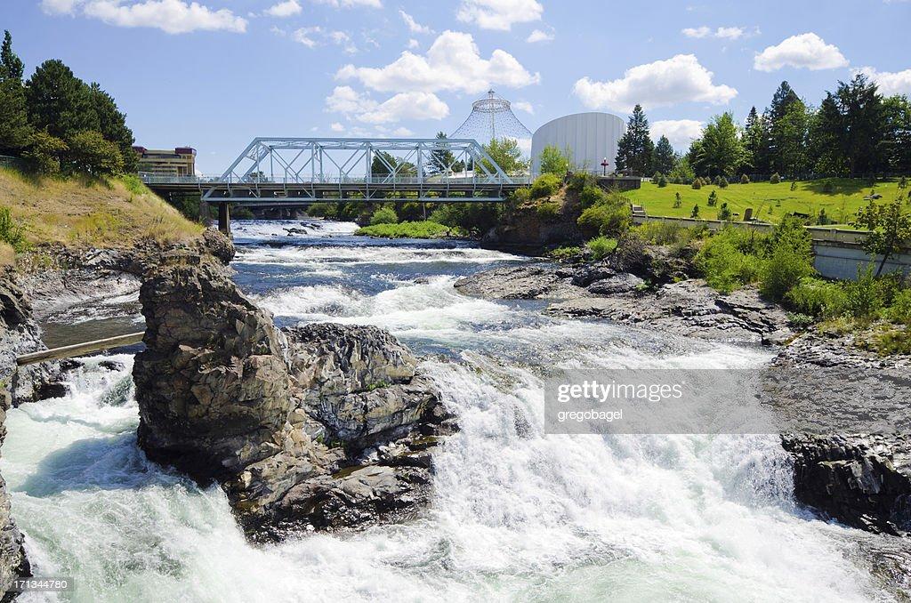 Upper Spokane Falls with Howard Street Bridge in distance