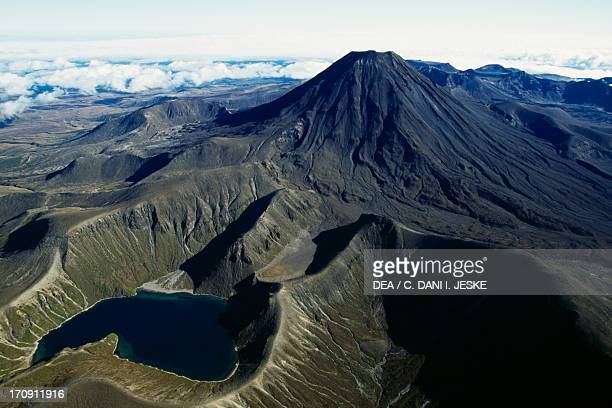 Upper Tama Lake and Mount Ngauruhoe Central Plateau Tongariro National Park North Island New Zealand Aerial view
